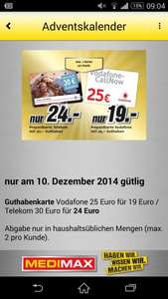MediMax Gera Guthabenkarte Vodafone 25,- Euro für 19,- Euro / Telekom 30,- Euro für 24,- Euro   ** Nur am 10.12.14 **