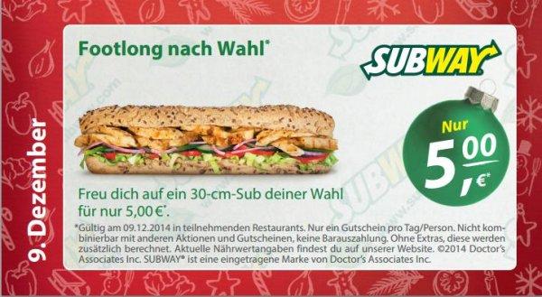 [Subway] 1 Footlong-Sub (30cm) nur 5€
