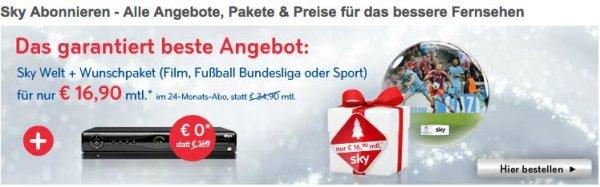 Sky Weihnachtsaktion 16,90€ pro Monat für 24 Monate inklusive Wunschpaket