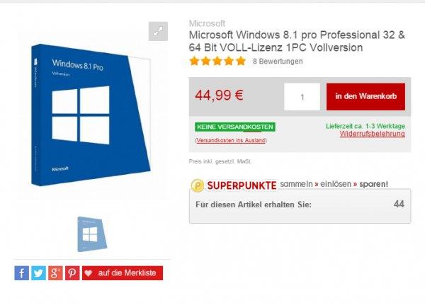 Windows 8.1 Pro 32/64Bit, DSP/SB 44,99 €