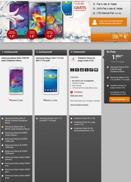 Samsung Galaxy Note 4 Frost white+ Samsung Galaxy Tab 3+Vodafone Smart XL[(Telefonie Flatrate,Sms Flatrate, 1,5GB Ltd für Schwerbehinderte oder junge Leute 3Gb)handyflash]