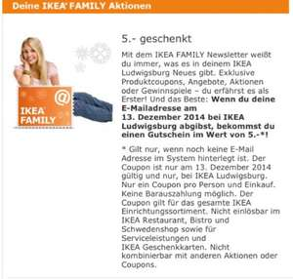 [Ikea Ludwigsburg] 5,- Gutschein gegen Abgabe einer neuen E-Mail am 13.12.2014