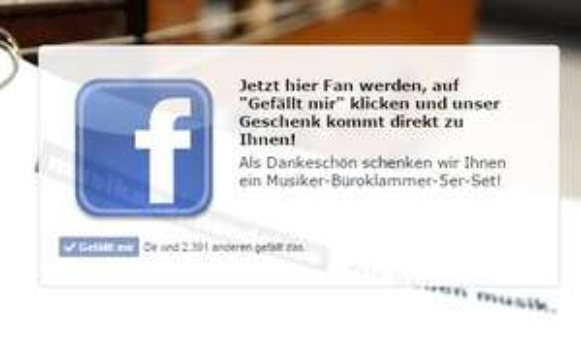"""Musiker-Büroklammer-5er-Set"" umsonst bei Facebook-Like"