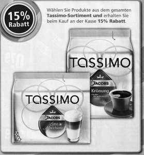 [REWE-Offline] ab 26.09. ALLE Tassimo T-Disc-Packs 15% reduziert