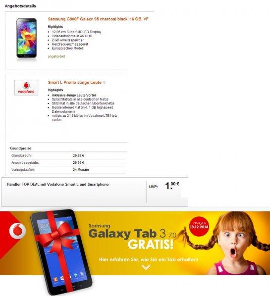 "Vodafone Smart L Angebot m. Samsung Galaxy S5+Samsung Tab 3 7.0"""