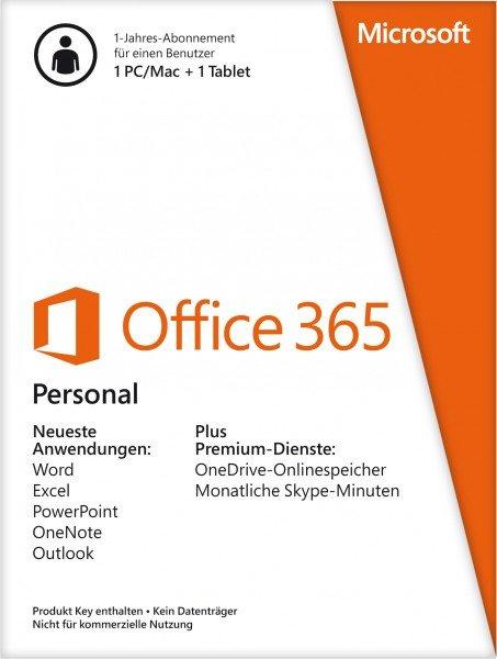 Microsoft Office 365 Personal - 1 Jahres Abonnement bei comtech für 35,- € inkl. Versand