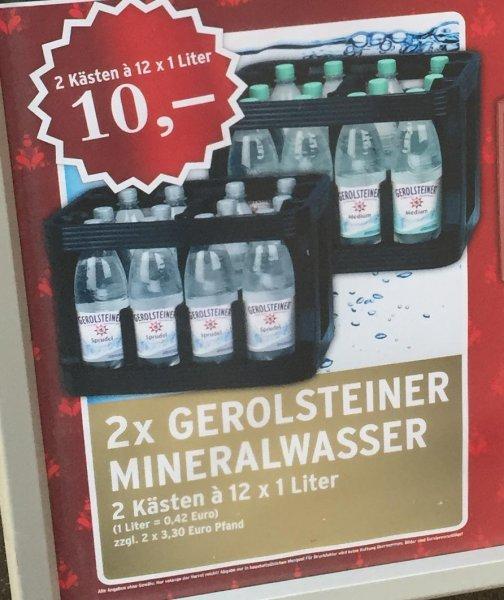 [Lokal Raum Köln] 2 Kästen Gerolsteiner Wasser (12x1l) für 10€ am 3. Advent