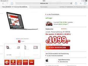 MacBook pro Retina MGX82D/A 8GB Ram 256GB SSD für 1099€ @ redcoon