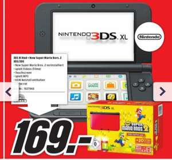 Nintendo 3DS XL + New Super Mario Bros. 2 (Lokal, Velbert - 169€)