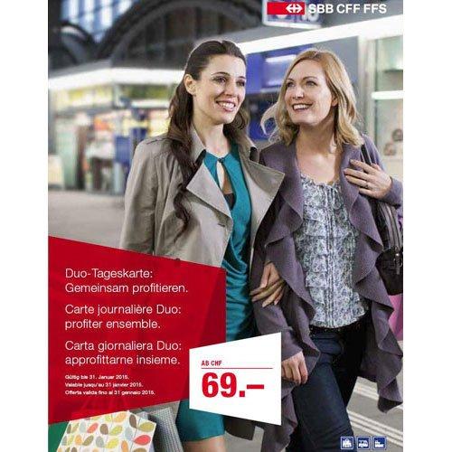 [Schweiz - Postshop] Duo-Tageskarte 2. Klasse oder 1. Klasse