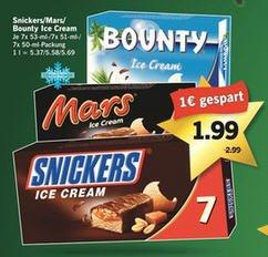 [LIDL] Snickers, Mars, Bounty Ice Cream Riegel (7er FamilyPack) für 1,99€ ab Donnerstag 18.12