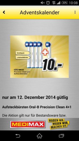 MediMax Gera Oral-B Precision Clean (4+1 Stk.) für 10,- Euro ** Nur am 12.12.14 **