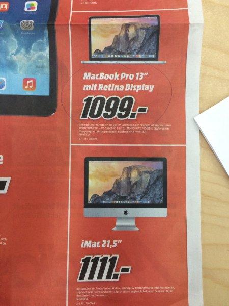 "[LOKAL MM Weiterstadt] iMac 21"" ME086 1111€ - MacBook Pro 13"" mit Retina Display MGX72 1099€"