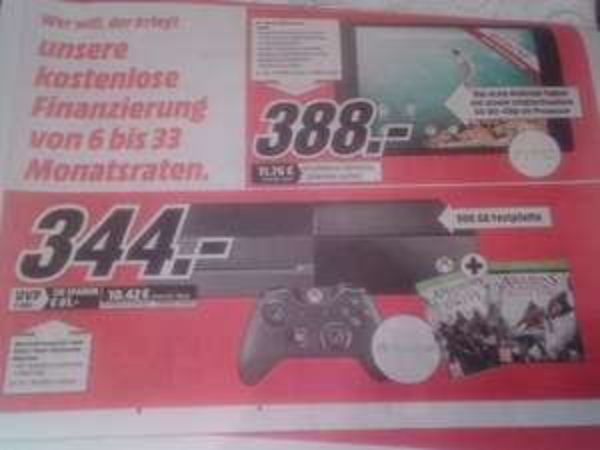 [eventuell lokal] Xbox One 500GB inkl. Assassin's Creed Unity und Black Flag [MediaMarkt Dessau-Roßlau]