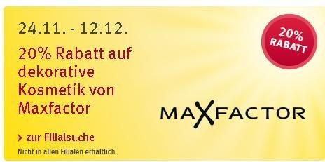 20% Rabatt auf dekorative Kosmetik von Maxfactor bei Rossmann