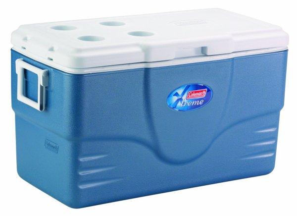 [Amazon WHD] Coleman Kühlbox Xtreme 100 Qt mit 2 Rädern, blau/weiß Zustand Gut