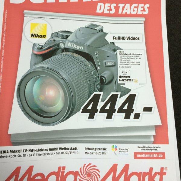 Lokal Mediamarkt weiterstadt - Nikon D5100 + 18-105 DX VR für 444€ als Schnapp des Tages - idealo ab 529€