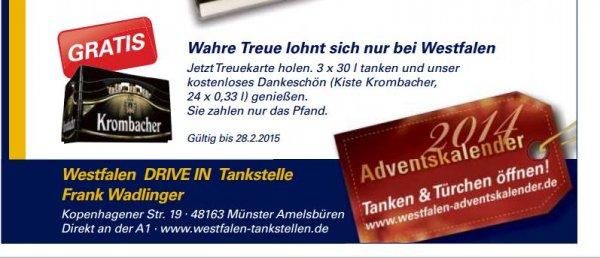 [Lokal Münster] 3x 30 Liter tanken bei Westfalen Tankstelle (Kopenhagener Str. 19) und eine Kiste Krombacher (24x0,33L) gratis erhalten