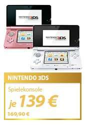 Nintendo 3DS pink oder white 139,00 € inkl. Versand bei meinpaket.de (sonst min. 154,80)