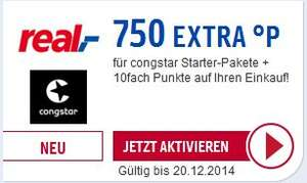 [Payback real] 750 Punkte für Congstar Starterpaket und 10fach Punkte für den gesamten Einkauf