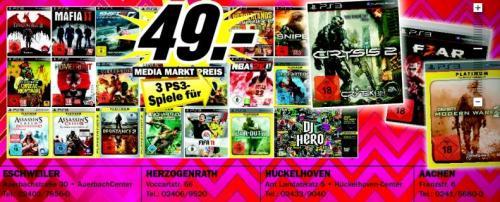 [Lokal] 3 PS3 Games für 49 € MediaMarkt Raum AC, außerdem 3 Blu-Rays für 18 €