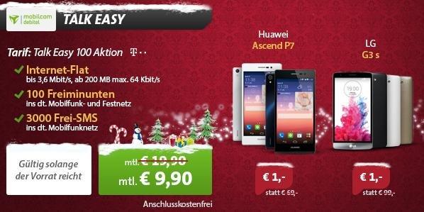Huawei Ascend P7 (Idealo: 254,59 €) oder LG G3s (Idealo: 208,99€) mit Mobilcom-Debitel (200MB/100 Minuten/SMS-Flat) im Telekom-Netz für 238,79€ @Sparhandy