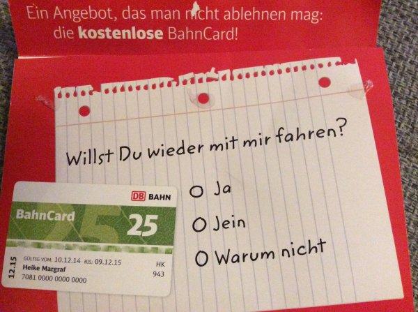 [best. Personenkreis] kostenlose BahnCard 25