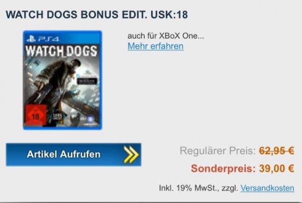 PS4 Watch Dogs 39,00€ (Lokal Technoland Deizisau)