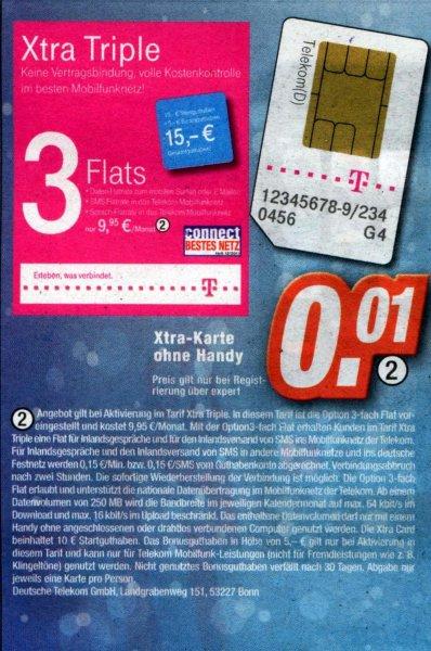 [lokal Expert-Technikmärkte] 3-fach Flat Xtra Triple mit 10 € bzw. 15 € Startguthaben