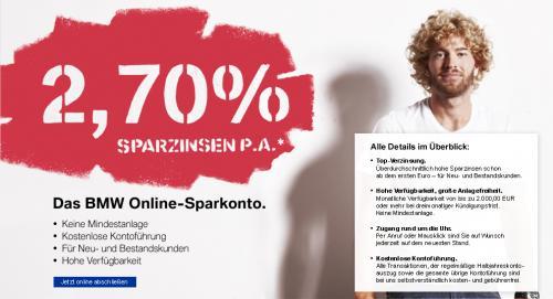 """2,70% Zinsen auf """"Tagesgeldkonto"""" bei der BMW-Bank"""