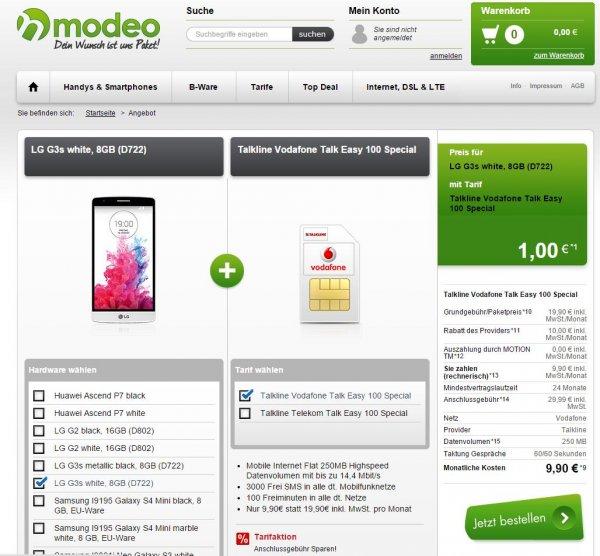 LG G3s (andere Geräte mit Zuzahlung) + Talkline Vertag (100 Minuten/3000 SMS/250MB(bis zu 14,4 Mbit/s)) im Vodafone-Netz bei handytick/modeo