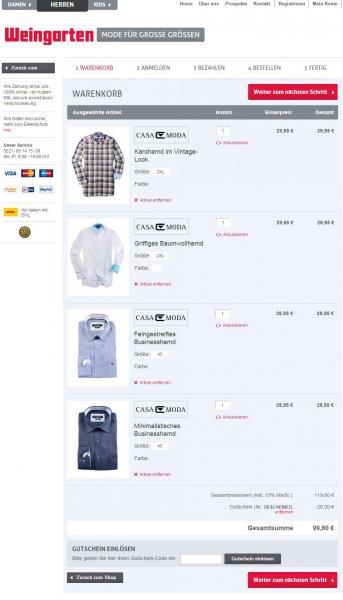 Weingarten Onlineshop - über 60% mit Code gespart - 4 Hemden für 99,80€