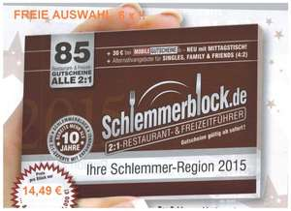 Schlemmerblock & Freizeitblocks 2015 bis zu 53 % reduziert