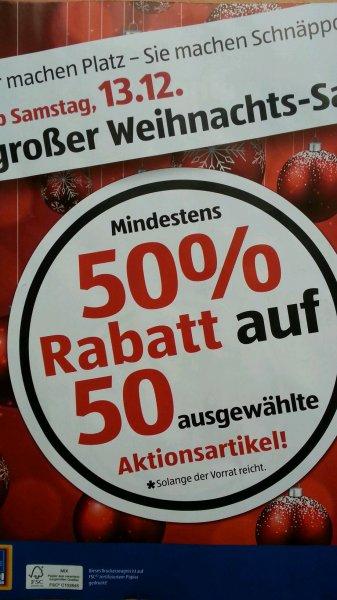 Aldi Süd Weihnachtssale mit konkreten Artikel mind. 50% Rabatt