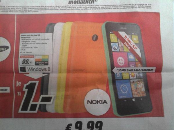 [Lokal MM] Nokia Lumia 630 Dual Sim Windows 8 => 99€  in WÜ / SW / NES    Idealo ab ~ 114 €