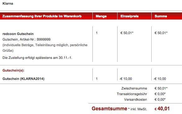 50€ Redcoon Geschenkgutschein für 40,01€