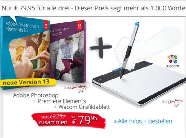 Adobe Photoshop & Premiere Elements + Intuos Pen Grafiktablet für 82,90 inkl. Versand bei EDV-Buchversand
