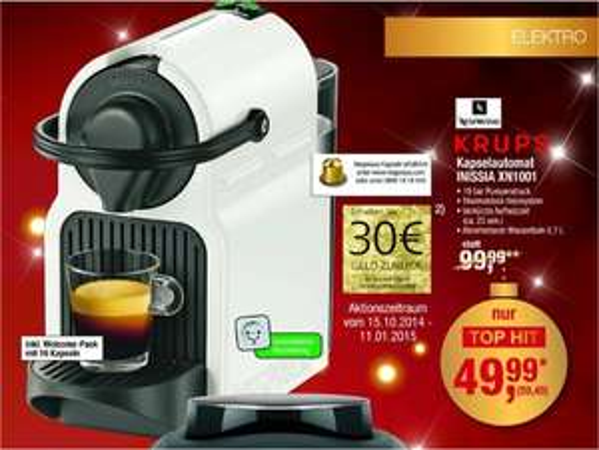 [Metro] Nespresso Inissia XN1001 erneut für 59,49€ -->29,49€