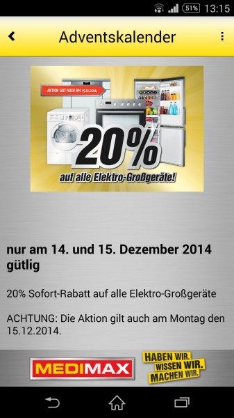 MediMax Gera 20% Sofortrabatt auf alle Elektro-Großgeräte ** Nur am 14. + 15.12.14 **