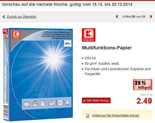[Kaufland NRW] 500 Blatt Kopierpapier für 2,49