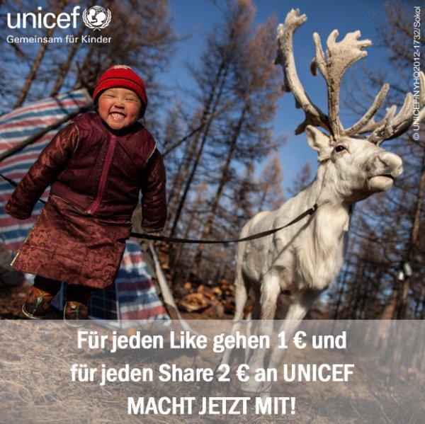 Unicef spendet 1€ für 1 Facebook Like und weitere 2€ für ein Facebook Share