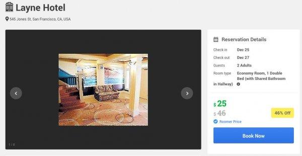 25. bis 27.12. Layne Hotel San Francisco near Union Square $25 pro Nacht