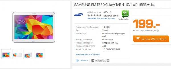 Samsung Galaxy Tab 4 10.1 WiFi 16GB ab 194€ und 1,6% Qipu @Saturn