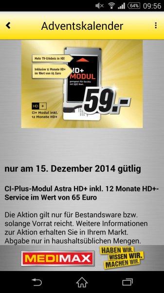 MediMax Gera CI+ Modul Astra inkl. 12 Monate HD+ für 59,- Euro ** Nur am 15.12.14 **