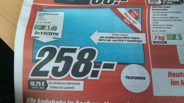Lokal Eschweiler Telefunken D40F275 40 Zoll LCD TV