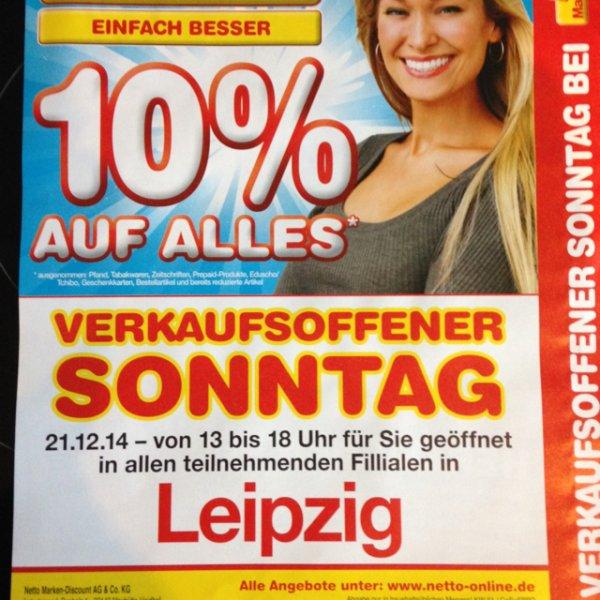 10% auf alles Netto Leipzig Verkaufsoffener Sonntag 21.12.14