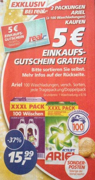 REAL | XXXL Packung Ariel für je 100 Waschladungen a 15,99€ bei 2 Packungen gibts einen 5€ Real Gutschein