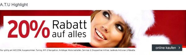 ATU nur heute (14.12.) - 20 % auf Ersatzteile, Reifen, ... (Onlineshop)