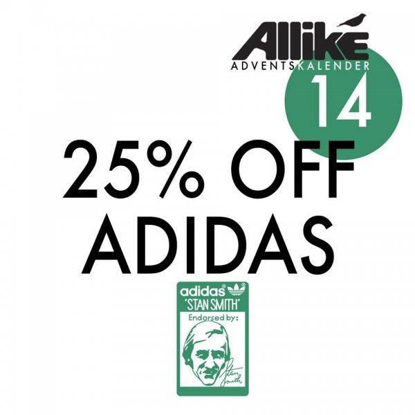 25% auf alle Adidas Produkte beim Allike Store nur heute!