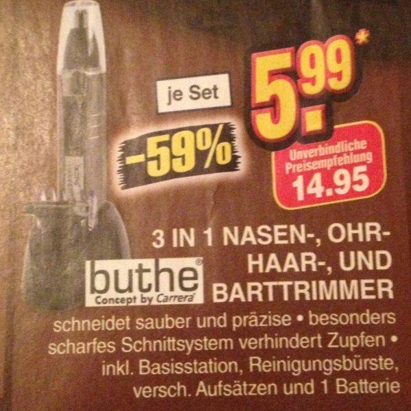 [Netto Ohne Hund] Buthe (Concept by Carrera) 3 in 1 Nasen/Ohr-Haar/Barttrimmer für 5,99€